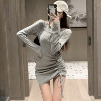 Dress Autumn 2020 Gray, black S,M,L Short skirt singleton  Long sleeves commute High waist Solid color Three buttons routine 25-29 years old Pleats, folds, lace UPS, buttons More than 95% other cotton