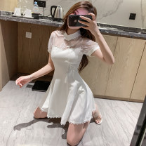 Dress Spring 2021 White, black S,M,L Short skirt singleton  Short sleeve commute stand collar High waist Solid color A button A-line skirt routine Others Type A Retro Cutout, stitching, zipper 3092# 31% (inclusive) - 50% (inclusive) other other