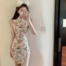 Dress Summer 2021 Light apricot S,M,L Short skirt singleton  Sleeveless commute stand collar High waist Decor zipper One pace skirt Others Type H Retro 31% (inclusive) - 50% (inclusive) other other