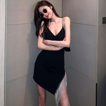 Dress Summer 2020 black S,M,L Short skirt singleton  Sleeveless commute V-neck High waist Solid color Socket routine camisole 25-29 years old Fringes, Bareback More than 95% other other