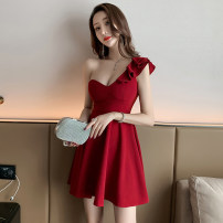 Dress Summer 2020 Red, black S,M,L,XL Short skirt singleton  Sleeveless commute One word collar middle-waisted Solid color Socket A-line skirt Lotus leaf sleeve Oblique shoulder Type A Korean version Ruffle, open back, zipper 81% (inclusive) - 90% (inclusive) other other