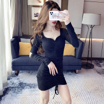Dress Autumn 2020 Black, light blue S,M,L,XL Short skirt singleton  Long sleeves commute V-neck High waist Solid color Socket 25-29 years old Other / other Hollowed out, pleated, pleated, lace up, asymmetric More than 95% other other
