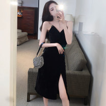 Dress Winter 2020 Black, lots in stock S,M,L longuette singleton  Sleeveless commute V-neck High waist Solid color Socket A-line skirt routine camisole 25-29 years old Type A backless More than 95% other polyester fiber
