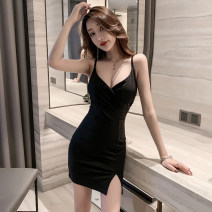 Dress Summer 2020 Apricot, Burgundy, black S,M,L,XL Short skirt singleton  Sleeveless commute V-neck High waist Solid color zipper One pace skirt other camisole Type A Korean version 81% (inclusive) - 90% (inclusive) other other