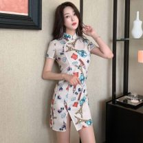 Dress Summer 2021 Picture color S,M,L Short skirt singleton  Short sleeve commute stand collar High waist Decor zipper One pace skirt routine Others Type A Retro printing 31% (inclusive) - 50% (inclusive) other other