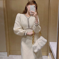 Dress Winter 2020 Dress S,M,L,XL Miniskirt singleton  Long sleeves commute V-neck High waist Solid color Socket One pace skirt routine Others 25-29 years old Type H Splicing 984# More than 95% other polyester fiber