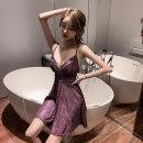 Dress Summer 2020 S,M,L Short skirt singleton  Sleeveless commute V-neck High waist Socket Big swing camisole 18-24 years old Type A Korean version 30% and below brocade hemp