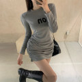 Dress Winter 2020 Gray, black S,M,L Short skirt singleton  Long sleeves commute Crew neck High waist Solid color Socket routine 25-29 years old Korean version Pleat, pleat More than 95% other cotton