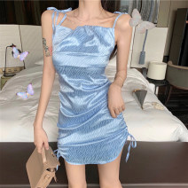 Dress Spring 2021 blue S,M,L Short skirt singleton  Sleeveless commute One word collar High waist stripe Socket A-line skirt routine camisole 25-29 years old Type A Tuck, open back, fold, lace up More than 95% other polyester fiber