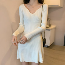 Dress Winter 2020 Off white, black S,M,L Miniskirt singleton  Long sleeves V-neck High waist Solid color Socket A-line skirt routine Others 25-29 years old Type A More than 95% knitting other
