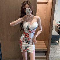 Dress Summer 2021 Decor S,M,L,XL Short skirt singleton  Short sleeve commute V-neck High waist Solid color Socket A-line skirt routine 18-24 years old Type A Splicing other polyester fiber