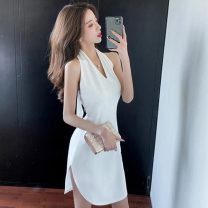 Dress Summer 2021 White, black S,M,L Short skirt singleton  Sleeveless commute V-neck High waist Solid color zipper One pace skirt other Hanging neck style Open back, lace up 91% (inclusive) - 95% (inclusive) other other