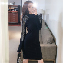 Dress Winter 2020 Picture color S,M,L Short skirt singleton  Long sleeves commute Crew neck High waist Socket routine 25-29 years old Diamond, stitching, mesh More than 95% other other