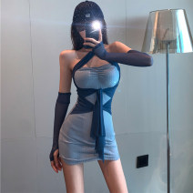 Dress Autumn 2020 blue S,M,L Short skirt singleton  Long sleeves commute One word collar High waist Solid color Socket One pace skirt other Hanging neck style 25-29 years old Type H Backless, stitched, strapped 7360# More than 95% knitting cotton