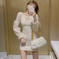 Dress Spring 2021 Off white, black S,M,L Short skirt singleton  Long sleeves commute V-neck High waist Solid color Socket One pace skirt other 25-29 years old Type H 1767# More than 95% other other