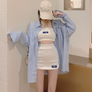 Dress Autumn 2020 White suit, blue shirt S,M,L Short skirt Two piece set Sleeveless commute High waist Socket routine 25-29 years old backless 7213# More than 95% other other