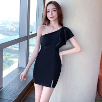 Dress Spring 2021 White, black S,M,L Short skirt singleton  Sleeveless commute Slant collar High waist Solid color zipper One pace skirt other Oblique shoulder 25-29 years old Type H Korean version Open back, zipper More than 95% brocade polyester fiber