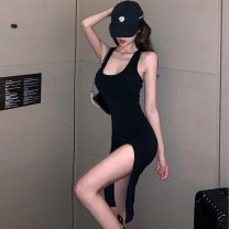 Dress Summer 2020 black S,M,L Short skirt singleton  Sleeveless commute High waist Solid color Socket routine 25-29 years old backless More than 95% other other
