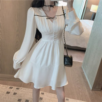 Dress Autumn 2020 white S,M,L Middle-skirt singleton  Long sleeves commute V-neck High waist Solid color Socket 25-29 years old Korean version Tuck, fold, tie 8271# More than 95% other other