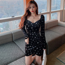 Dress Winter 2020 black S,M,L Short skirt singleton  Long sleeves commute V-neck High waist Solid color Socket One pace skirt routine 25-29 years old Korean version Open back, stitching, asymmetry, zipper, printing 628# More than 95% other polyester fiber