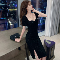 Dress Summer 2020 black S,M,L Middle-skirt singleton  Short sleeve commute square neck High waist Solid color Socket routine 25-29 years old Fold, Sequin 9636# More than 95% other other