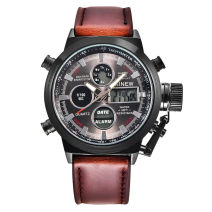 Wristwatch other Electronic movement XINEW male Leatherwear domestic 0ATM alloy Plexiglass mirror 13mm 45mm circular fashion Double explicit brand new Pin buckle ordinary ordinary other Autumn and winter 2017 Japan