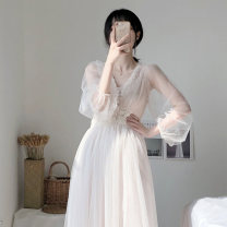 Dress Summer of 2019 Apricot S,M,L,XL Mid length dress singleton  Long sleeves commute V-neck High waist Solid color Socket A-line skirt bishop sleeve Others 18-24 years old Type H Korean version polyester fiber
