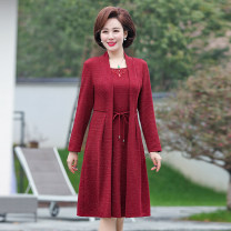 Middle aged and old women's wear Spring of 2019 Red, Navy XL,XXL,XXXL,4xl fashion Dress easy Fake two pieces Solid color 40-49 years old Cardigan moderate Crew neck routine 1067-1912 Other / other belt polyester 81% (inclusive) - 90% (inclusive) Medium length Polyester other