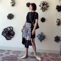 Dress Summer 2020 Dark green, black S,M,L Mid length dress Fake two pieces Short sleeve commute Crew neck High waist Decor Socket Pleated skirt routine Others 25-29 years old Type H misssha Korean version Splicing, asymmetric 81% (inclusive) - 90% (inclusive)