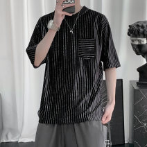 T-shirt Youth fashion black routine S,M,L,XL,2XL,3XL Others Short sleeve Crew neck easy Other leisure summer teenagers routine tide 2021 stripe other No iron treatment