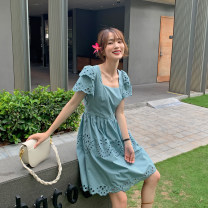 Dress Summer 2020 The lake is blue and white S,M,L Middle-skirt singleton  Short sleeve commute square neck High waist Solid color zipper A-line skirt Petal sleeve Others 25-29 years old Type A The Farr family Korean version Hollowing out