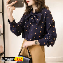 shirt Apricot, blue, doghead T-shirt S,M,L,XL,2XL,3XL,4XL Autumn of 2019 Cashmere 51% (inclusive) - 70% (inclusive) Long sleeves commute Regular Single row multi button routine Dot Self cultivation Other / other Korean version