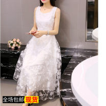 Dress Summer of 2019 white S. M, l, XL, 2XL, XXXs pre-sale Mid length dress singleton  Sleeveless Sweet Crew neck middle-waisted Solid color Socket Big swing routine Type A Other / other Lace 81% (inclusive) - 90% (inclusive) Lace Bohemia