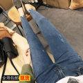 Jeans Autumn of 2019 blue S. M, l, XL, XXXs pre-sale Ninth pants High waist Pencil pants routine 18-24 years old Wear out Dark color Other / other 81% (inclusive) - 90% (inclusive)