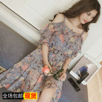 Dress Summer of 2018 Blue grey, safety Pants White S,M,L,XL,2XL longuette singleton  Short sleeve commute One word collar middle-waisted Decor Socket routine camisole 18-24 years old Type H Other / other Korean version 51% (inclusive) - 70% (inclusive) Chiffon