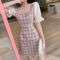 Dress Summer 2021 Graph color M. L, XL, XXL, XXXs pre-sale Mid length dress singleton  Short sleeve commute square neck High waist lattice Socket A-line skirt puff sleeve 18-24 years old Type A Other / other Korean version 81% (inclusive) - 90% (inclusive) polyester fiber