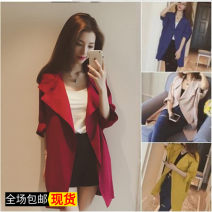 Windbreaker Autumn of 2018 S,M,L,XL,2XL,3XL three quarter sleeve Thin money Medium length commute other square neck routine Solid color Straight cylinder Retro Other / other 18-24 years old 51% (inclusive) - 70% (inclusive) cotton cotton polyester fiber