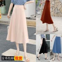 skirt Summer of 2019 S,M,L,XL,2XL Apricot, light blue, black, brick red, dog head T-shirt Middle-skirt Versatile High waist A-line skirt Solid color Other / other