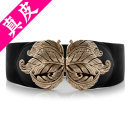 Belt / belt / chain top layer leather black female Waistband Versatile Single loop Youth, youth, middle age a hook Flower design soft surface 8cm alloy other