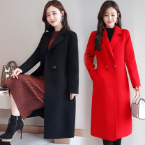 woolen coat Winter 2020 S,M,L,XL,2XL,3XL Sky blue, red, camel, black, leggings, white Cashmere 51% (inclusive) - 70% (inclusive) Medium length Long sleeves commute double-breasted routine tailored collar Solid color Cape type Korean version 30-34 years old pocket Solid color polyester fiber