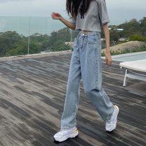 Women's large Summer 2020 wathet Large L, large XL, s, m, 2XL, 3XL, 4XL, 5XL Jeans singleton  commute easy moderate Korean version Denim 18-24 years old trousers