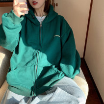 Women's large Spring 2020 Large L, large XL, m, 2XL, 3XL, 4XL singleton  easy Cardigan Long sleeves Solid color Hood routine cotton routine Other / other 18-24 years old pocket 31% (inclusive) - 50% (inclusive) zipper