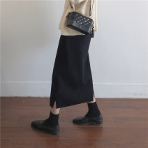 Women's large Winter 2020, autumn 2020 black M【80-95】,L【95-110】,XL【110-135】,2XL【135-155】,3XL【155-170】,4XL【170-200】 skirt singleton  Sweet Self cultivation thick Solid color 18-24 years old Medium length college