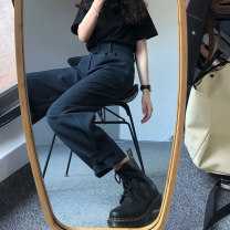 Women's large Winter 2020, autumn 2020 Navy Blue Large L, large XL, s, m, 2XL, 3XL, 4XL trousers commute easy thick Solid color Korean version Polyester, cotton, others Three dimensional cutting 18-24 years old Button 81% (inclusive) - 90% (inclusive) Ninth pants