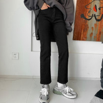 Women's large Winter 2020, autumn 2020 black Large L, large XL, s, m, 2XL, 3XL, 4XL Jeans singleton  commute Straight cylinder moderate Solid color Korean version Denim, other Three dimensional cutting Yao Yi 18-24 years old Ninth pants Contains (9 oz) - 11 oz