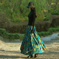skirt Fall 2017 S,M,L,XL,2XL Purplish red flowers, Tibetan blue flowers, blue green flowers longuette Versatile Natural waist Irregular Decor Type A FLQ0148 31% (inclusive) - 50% (inclusive) other Other / other hemp Pleated, lace up, stitched, printed