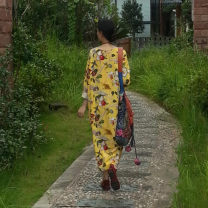 Dress Autumn 2015 Pink yellow One size fits all, s Mid length dress singleton  Long sleeves commute Crew neck Loose waist Decor Socket other raglan sleeve Others Self made Retro Pocket, print FLQ0049 51% (inclusive) - 70% (inclusive) other hemp