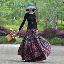 skirt Spring 2020 S,M,L,XL,2XL longuette commute Natural waist Irregular Decor Type A 40-49 years old 31% (inclusive) - 50% (inclusive) other Other / other hemp Fold, tie, print ethnic style 141g / m ^ 2 (including) - 160g / m ^ 2 (including)