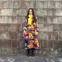 Dress Winter 2017 Yellow winter, yellow spring, blue spring, blue winter One size, s, chest 104, XL, chest 124 Mid length dress singleton  Nine point sleeve commute Crew neck Loose waist Decor Socket Big swing routine Others 30-34 years old Type A Self made ethnic style other hemp