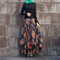 skirt Autumn 2016 S,M,L,XL,2XL Navy blue, yellow flowers Mid length dress commute Natural waist Irregular Decor Type A FLQ0094 31% (inclusive) - 50% (inclusive) other Other / other hemp Printing, striping, handmade flowers ethnic style